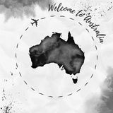 Australia watercolor map in black colors. Welcome to Australia poster with airplane trace and handpainted watercolor Australia map on crumpled paper. Vector Royalty Free Stock Image