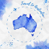 Australia watercolor map in blue colors. Royalty Free Stock Photos