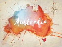 Australia watercolor map Royalty Free Stock Image