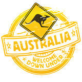Australia welcome down under. Rubber stamp Australia welcome down under Royalty Free Stock Photos