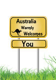 Australia welcomes you  orange and black sign Royalty Free Stock Photo