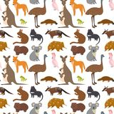 Australia wild animals cartoon popular nature characters seamless pattern background flat style mammal collection vector vector illustration