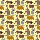 Australia wild animals cartoon popular nature characters seamless pattern background flat style mammal collection vector Stock Photos