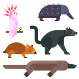 Australia wild animals cartoon popular nature characters flat style and australian mammal aussie native forest Stock Images