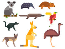 Australia wild animals cartoon popular nature characters flat style and australian mammal aussie native forest Royalty Free Stock Photography