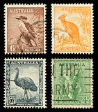 Australia Wildlife Postage Stamps. Four Australian Used Postage Stamps showing Native Australian Wildlife, circa 1937 to 1942 Stock Image