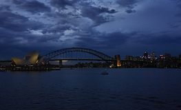 In Australia, a wonderful night view, buildings and sea blue are wonderful. Everyone should see this scene once in your life, the colorful life there is not Stock Photography