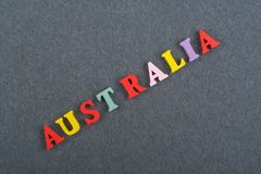 AUSTRALIA word on black board background composed from colorful abc alphabet block wooden letters, copy space for ad. Text. Learning english concept royalty free stock photos
