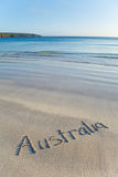 Australia written on remote beach Stock Photography