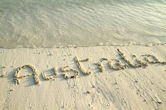 'Australia' written in sand. Royalty Free Stock Images