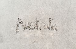 Australia written in the sand royalty free stock photography