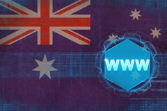 Australia www world wide web. Computer concept. Australia www world wide web. Computer concept on flag background Royalty Free Stock Images