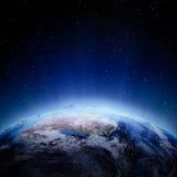 Australia y nuevas luces de Zeland en la noche Fotos de archivo libres de regalías