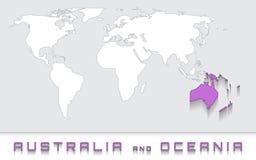 Australia y Oceanía en el mapa Fotografía de archivo libre de regalías