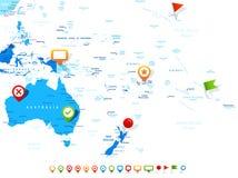 Australia y Oceanía - mapa e iconos de la navegación - ejemplo stock de ilustración