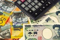 Australia y pares japoneses del dinero en circulación imágenes de archivo libres de regalías