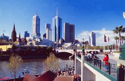 Australia: Yarra River Bridge in Melbourne. With the skyline of the City royalty free stock images