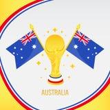 Australia Złocisty Futbolowy trofeum, filiżanka i flaga/ royalty ilustracja