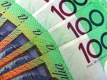 Australian 100 dollar notes. Macro photo of the Australian dollar note, suitable for backgrounds Royalty Free Stock Photography