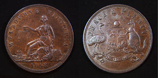 Australian 1858 Penny Token Stock Image