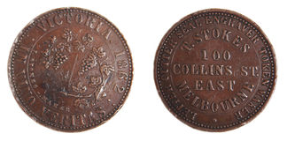 Australian 1862 Penny Token scarce copper coin Royalty Free Stock Photo