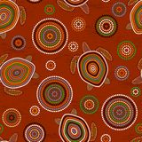 Australian Aboriginal Art. Sea turtles. Seamless pattern. Background brown. Australian Aboriginal Art. Point drawing. Sea turtles. Seamless pattern. Background Royalty Free Illustration