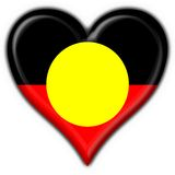 Australian Aboriginal button flag heart shape. 3d made Australian Aboriginal button flag heart shape Royalty Free Stock Photo
