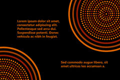 Australian aboriginal geometric art concentric circles banner template in orange brown and black, vector Stock Photos