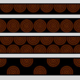 Australian aboriginal geometric art concentric circles in orange brown and black seamless borders set, vector Royalty Free Stock Photo