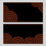 Australian aboriginal geometric art concentric circles in orange brown and black, two cards set,. Background stock illustration