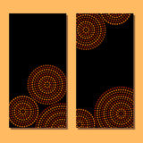 Australian aboriginal geometric art concentric circles in orange brown and black, two cards set, vector. Background stock illustration