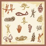 Australian Aboriginal Petroglyph Ornaments. Set of Australian aboriginal petroglyph ornaments Stock Photos