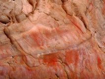 Australian Aboriginal Rock Art. Ancient red ochre rock art, New South Wales, Australia stock photos