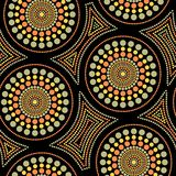 Australian aboriginal seamless vector pattern with dotted circles and crooked squares. Australian aboriginal seamless vector pattern with colorful dotted circles stock illustration