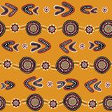 Australian aboriginal seamless vector pattern with dotted circles, rings, boomerangs and wavy stripes. Australian aboriginal seamless vector pattern with Stock Illustration