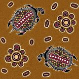 Australian aboriginal seamless vector pattern with dotted circles, ovals, turtles and other elements. Australian aboriginal seamless vector pattern with colorful stock illustration