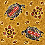 Australian aboriginal seamless vector pattern with dotted circles, ovals, turtles and other elements. Australian aboriginal seamless vector pattern with colorful royalty free illustration