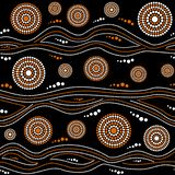 Australian aboriginal seamless vector pattern with dotted circles, rings and crooked stripes. Australian aboriginal seamless vector pattern with white and orange royalty free illustration