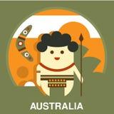 Australian Aborigine in Flat Style Stock Photography