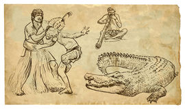 Australian Aborigines. Dancing, a musician playing didgeridoo and threatens them the marine crocodile. Each drawings consists of at least of two layers, a Stock Photo