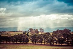 Australian agricultural countryside landscape after rain. Stock Photos