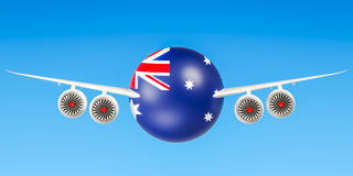 Australian airlines and flying`s, flights to Australia concept. Royalty Free Stock Photo