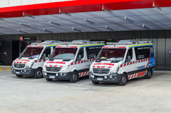 Australian ambulances in Melbourne Stock Photos