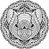 Australian animal. The head of a Tasmanian devil with patterns. Coloring page for adults. Australian animal. The head of a Tasmanian devil with patterns Royalty Free Stock Image