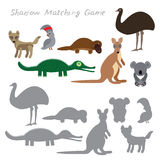 Australian animals dingo emu parrot crocodile koala kangaroo platypus isolated on white background, Shadow Matching Game for Presc. Hool Children. Find the Stock Photos