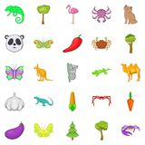 Australian animals icons set, cartoon style. Australian animals icons set. Cartoon set of 25 australian animals vector icons for web isolated on white background Royalty Free Stock Photography