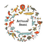 Australian animals set, sketch for your design Royalty Free Stock Images