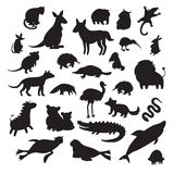 Australian animals silhouettes, isolated on white background vector illustration. Stock Images