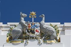 The Australian arms on the old Parliament house in Canberra Parliamentary Zone Australia Capital Territory. Australian arms Emu and Kangaroo emblem on the old stock images