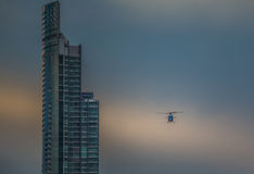 Australian Army Black choppers. Fly North across Surfers Paradise and the Gold Coast Royalty Free Stock Photography